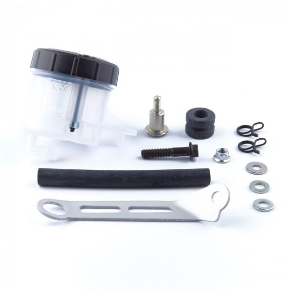 Brembo Bremsflüssigkeitsbehälter mit 45° Anschluss, Halterung, Schlauch und Klemmen.